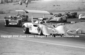 Chaparral 2G.  Jim Hall leads Gurney etc. Photo Riverside Can Am 1968